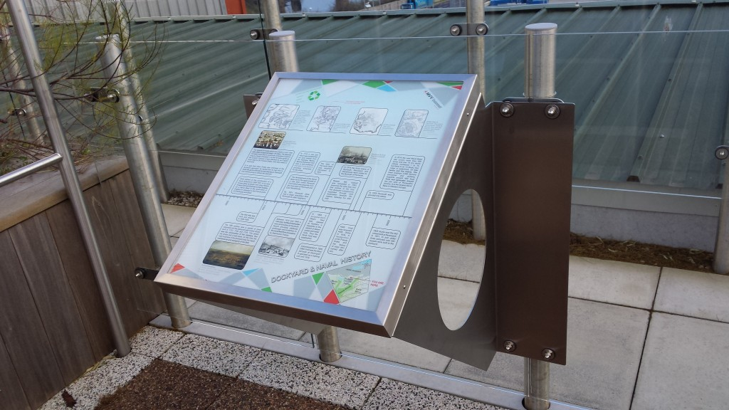 We designed this whole bespoke fabrication for one of our clients needs. It was made using 6 mm clear acrylic which has been printed on, then installed into the stainless steel frame that you see to create this informational external installation.